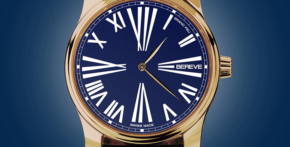 "Bereve Emperor 18km 4N Gold Cobalt Blue Dial ""Grand Feu black"""