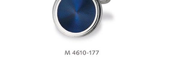 1 Paar handgearbeitete Manschettenknöpfe aus 750/Weissgold mit diam. Platte blau