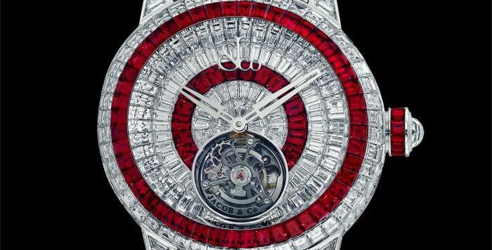 Jacob & Co. CAVIAR TOURBILLON DIAMOND BRACELET WHITE DIAMONDS AND RUBIES 6 Piece