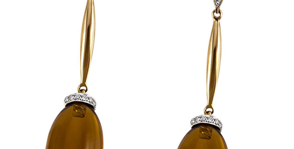 1 Paar handgefertigte Ohrringe 750/Gold, Steinsitz rhodiniert, 24 Brill.0,14 ct.