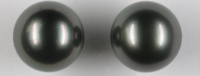 Ohrstecker /750 Weissgold, 2 Tahiti Zuchtperlen rund, schwarz, peacock 14,3 mm