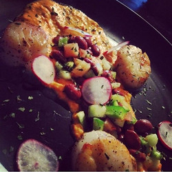 Roasted Red Pepper Puree_African Pink Bean Salad _Pickled Radish_._._._