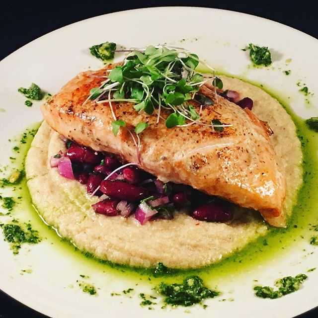 Sou Vide Salmon w. _Spicy Roasted Cauliflower Puree _Simple Kidney Bean Salad_Micro Greens_Citrus Pa