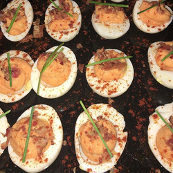 Sweet Potato Deviled Eggs.
