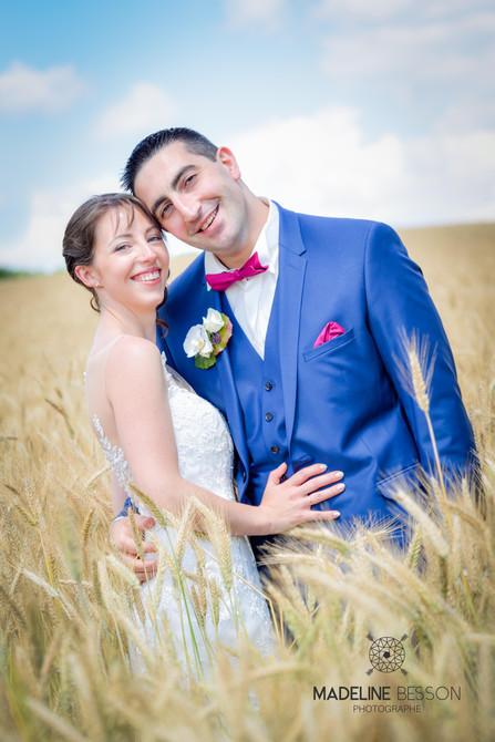 Phote de mariage, photo de couple des mariés à Clermont Ferrand, Riom, Cournon d'Auvergne, Puy de dôme, 63 France