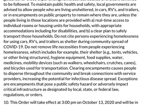 Changes in The Public Health Order & It's Affects on the Unhoused Community