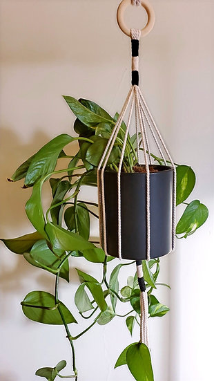 Customizable Color Block Macramé Plant Pot Hanger