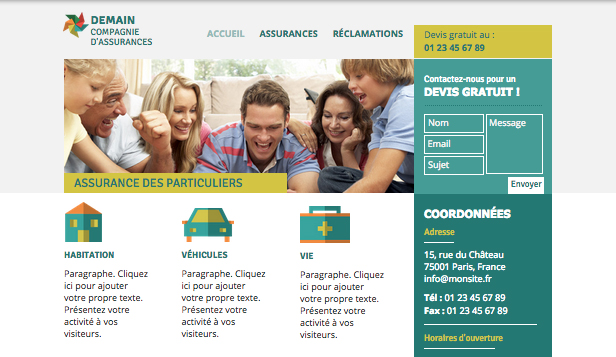Droit et Finance website templates – Compagnie d'Assurances