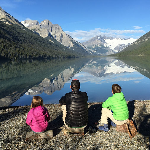 Glacier Lake - Banff National Park- Atkins family enjoying the view