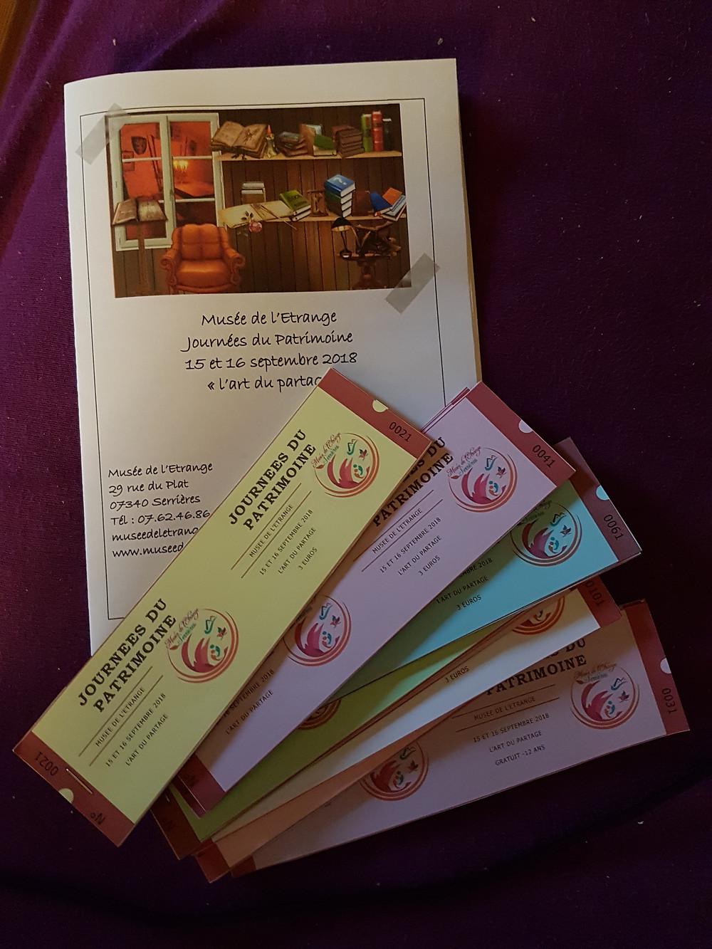 Le livret et les billets d'entrée des Journées du Patrimoine