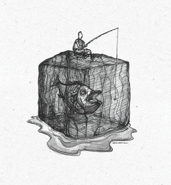 Fishing Man on Ice Cube