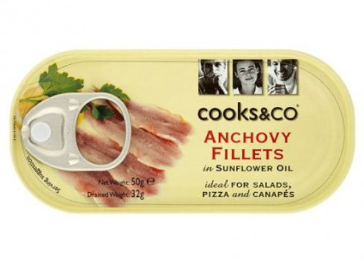 Cooks & Co Anchovy Fillets in Sunflower Oil 50g