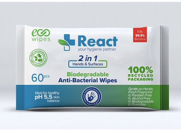 React Anti Bacterial Wipes 60s