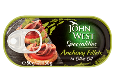 John West Anchovies Fillets in Olive Oil 50g