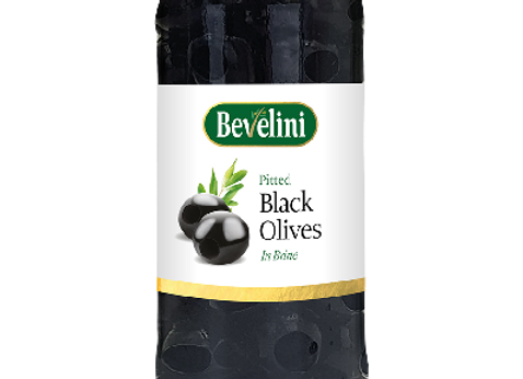 Bevelini Pitted Black Olives 340g