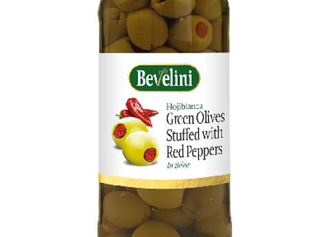 Bevelini Pitted Green Olives Red peppers 340 g