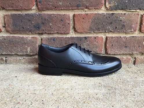 Startrite Brogue PRI Black Leather Lace-up Closed School Shoes