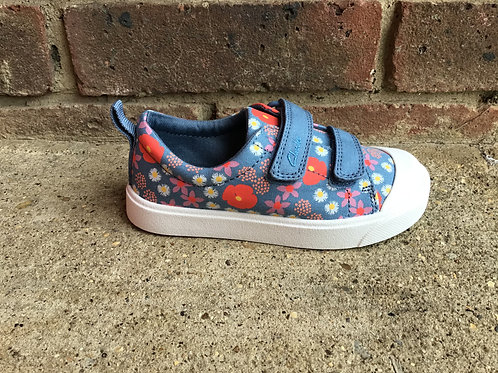 Clarks City Bright Blue Floral F Fit