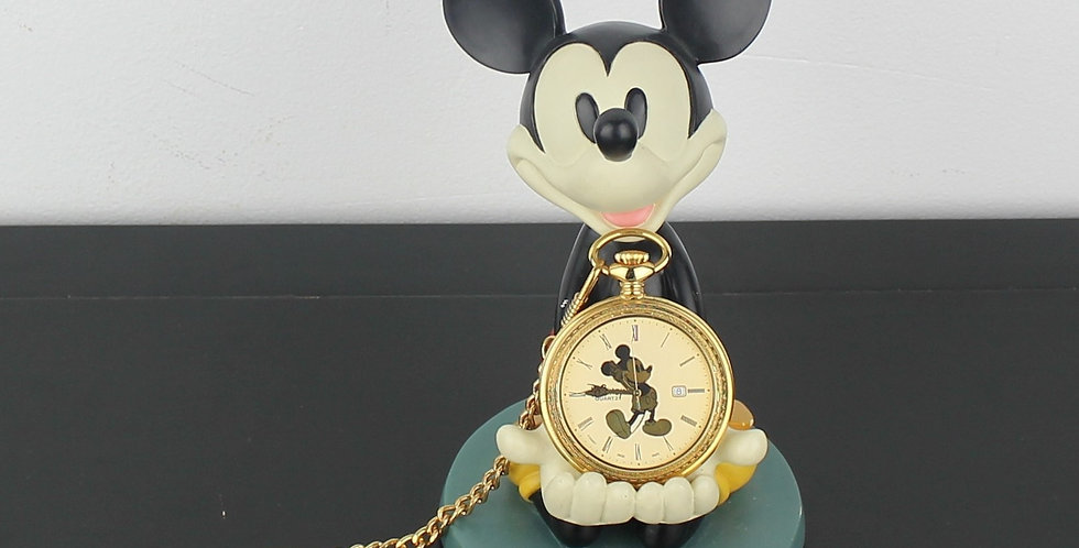 mickey mouse;statue;figurine;baroque;barock;pocket watch;holder;gold;luxury;walt disney;shop;store;for sale;product;collectib