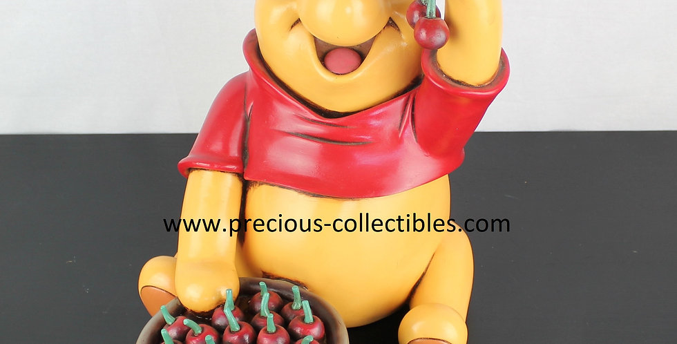 Winnie the Pooh;cherries;Walt Disney;Statue;Collectible;Collectable;Product;For Sale;Rare;Peter Mook;Rutten;Polyresin;Bear