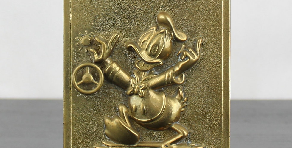 Donald Duck;Brass;Gatco;Walt Disney;60's;70's;metal;collectible;collectable;heavy;safe;money box;storage;vintage;classic;