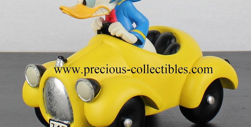 Donald Duck;313;Sculpture;Figurine;Collectible;Walt Disney;Fingendi;Rutten;Peter Mook;Yellow;Racing;Car;Webshop;For Sale;Rare