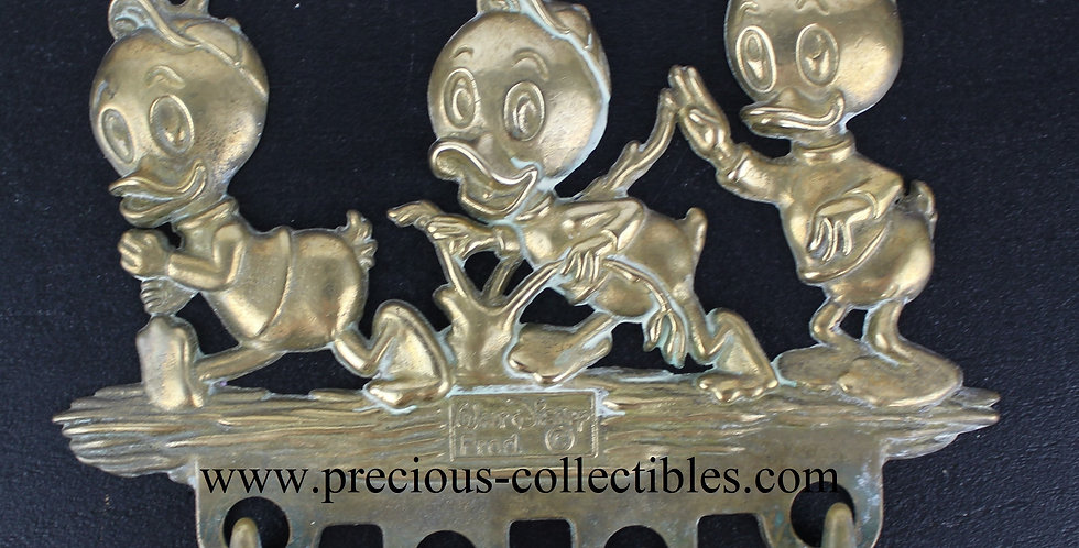 Huey, Dewey and Louie Donald Duck Nephews wall bracket brass gatco walt disney extremely rare webshop precious collectibles