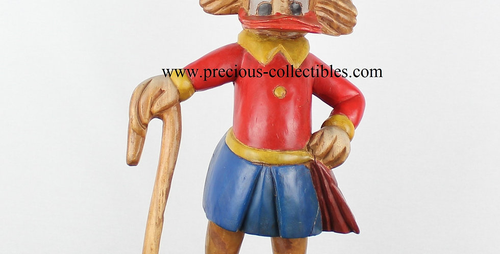 Handmade Wooden sculpture of Scrooge McDuck vintage antique extremely rare collectible for sale handpainted statue figurine