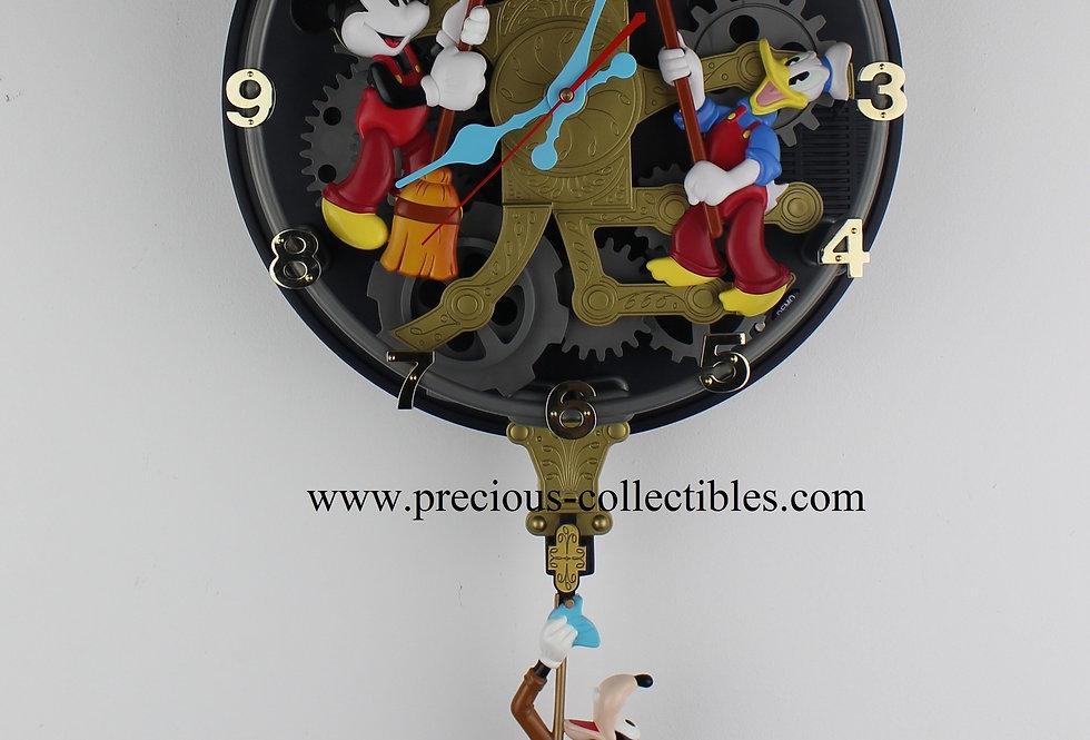 Walt Disney clockcleaners interactive wall clock Superfone Goofy Donald Duck Mickey Mouse vintage extremely rare collectible