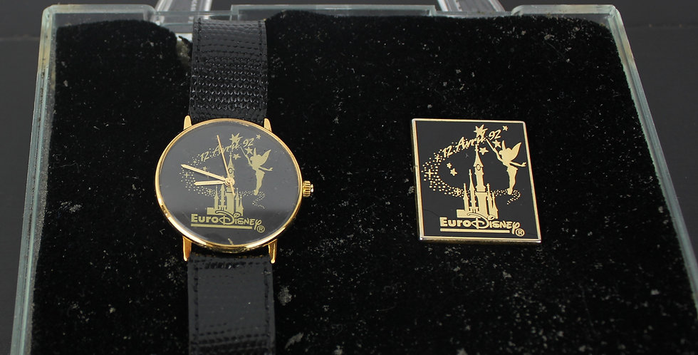 Watch;Tinkerbell;Pin;Castle;Walt disney;Disneyland Paris;Opening;1992;Product;Store;For sale;Unique;Case;Luxury;collectible;