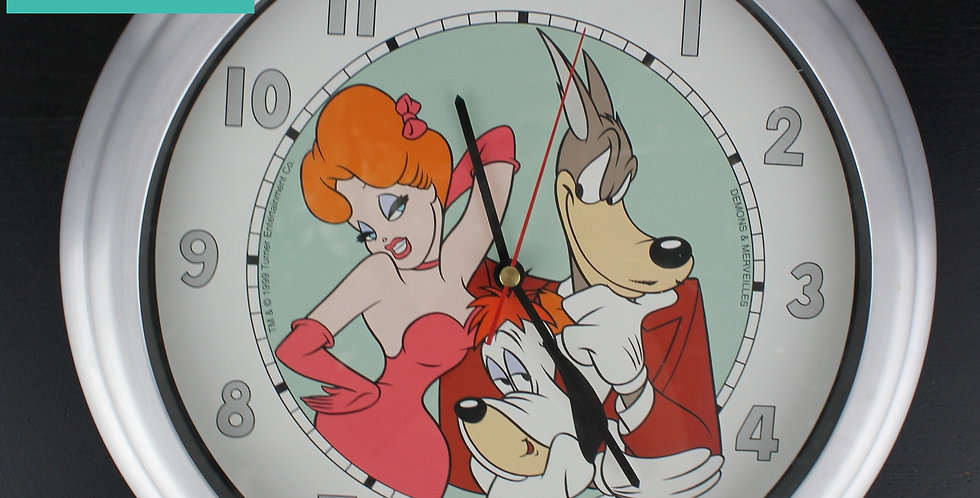 Magnificent, vintage and rare wall clock of Ted, Droopy and Wolf. Tex Avery characters by Demons Merveilles. Now for sale.