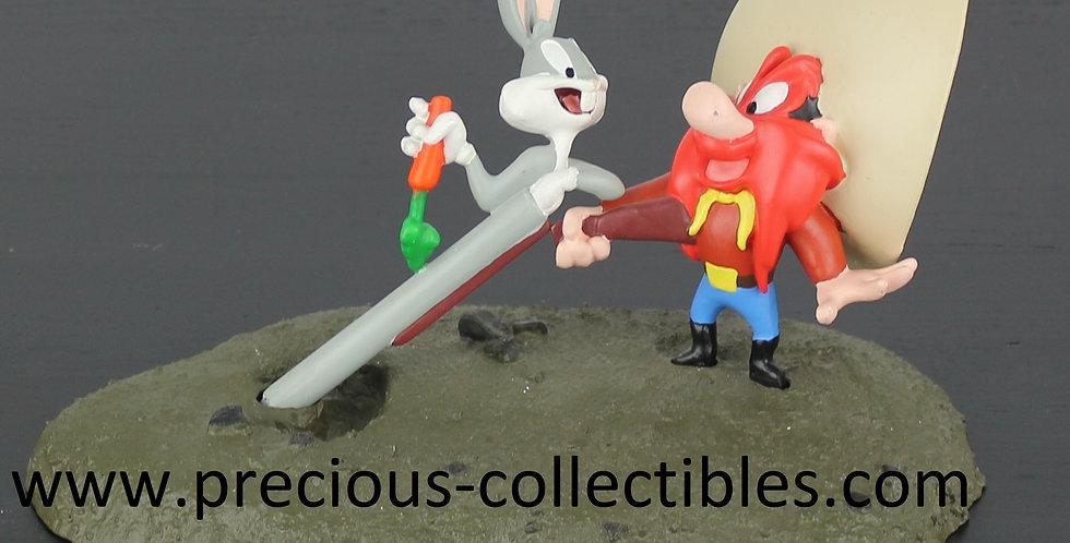 Bugs Bunny;Yosemite Sam;Enemies;Gun;Warner Bros;Warner Brothers;Statue;Figurine;Cowboy;Bunny;Collectible;Collectable;