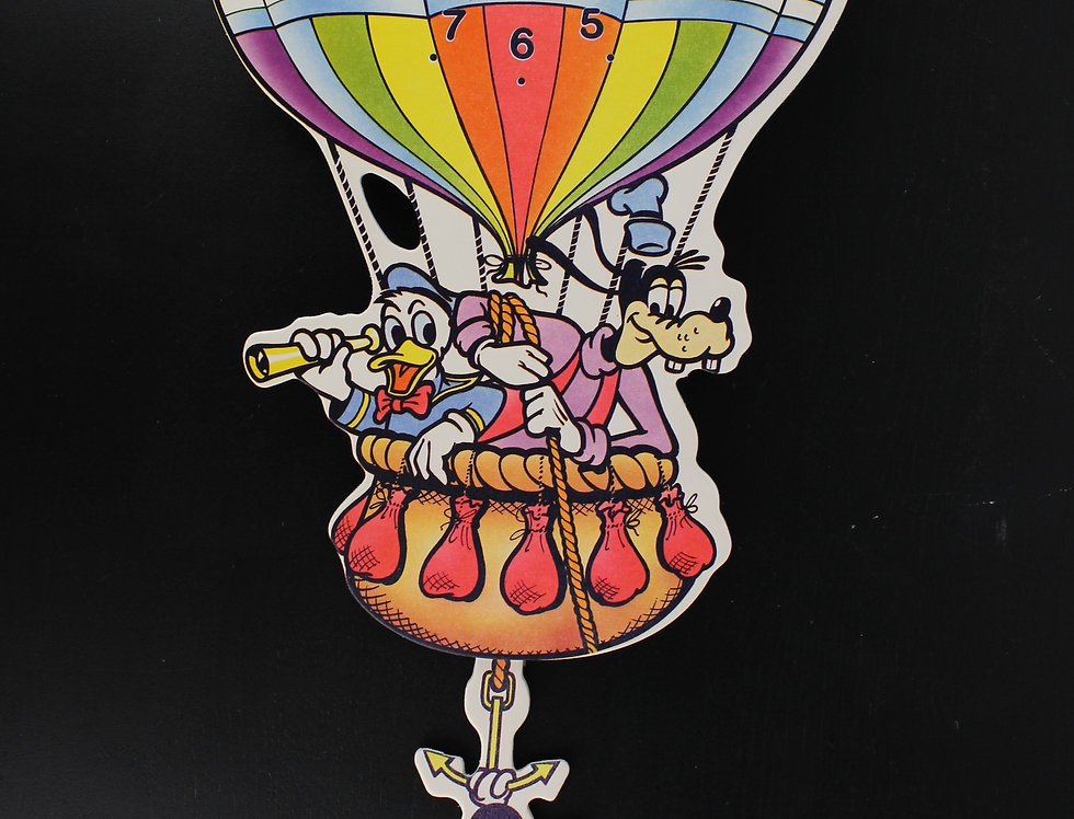 Mickey Mouse Goofy Donald Duck up up and away wall clock 1986 vintage hot air ballon for sale Walt Disney extremely rare webs
