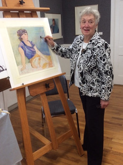 JoAnne working on a demonstration for the Blue Ridge Arts Center, Seneca SC prior to the April 11, 1