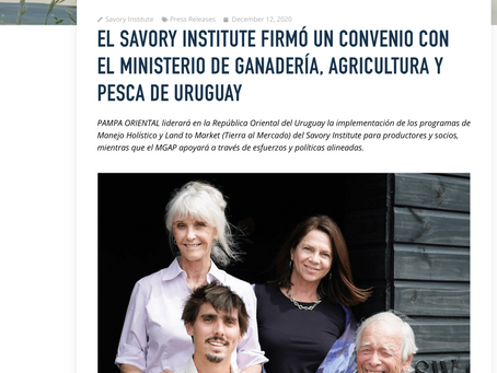 EL SAVORY INSTITUTE FIRMÓ UN CONVENIO CON EL MINISTERIO DE GANADERÍA, AGRICULTURA Y PESCA DE URUGUAY