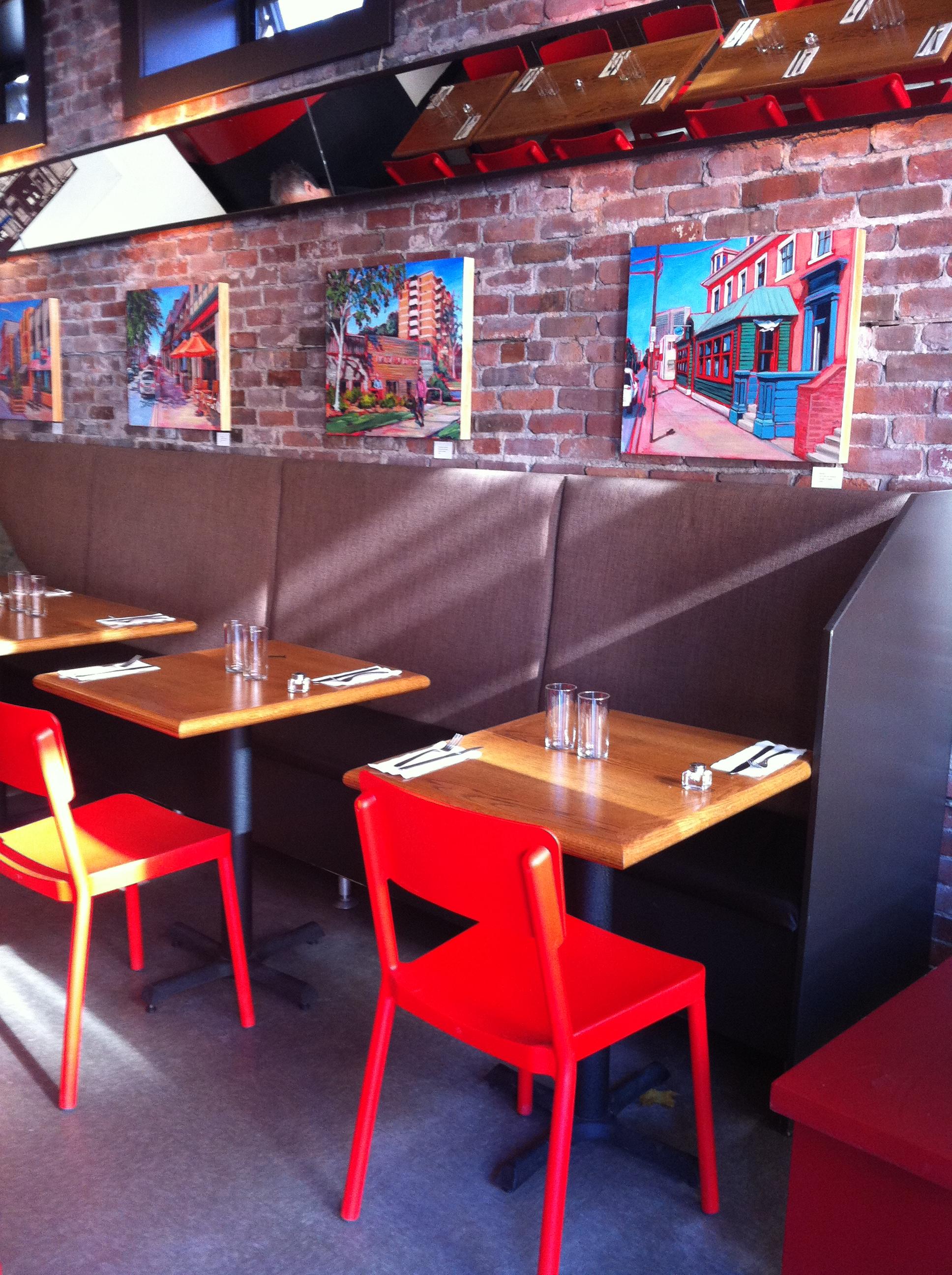 Paintings hanging at Morris East Restaurant, Halifax, NS