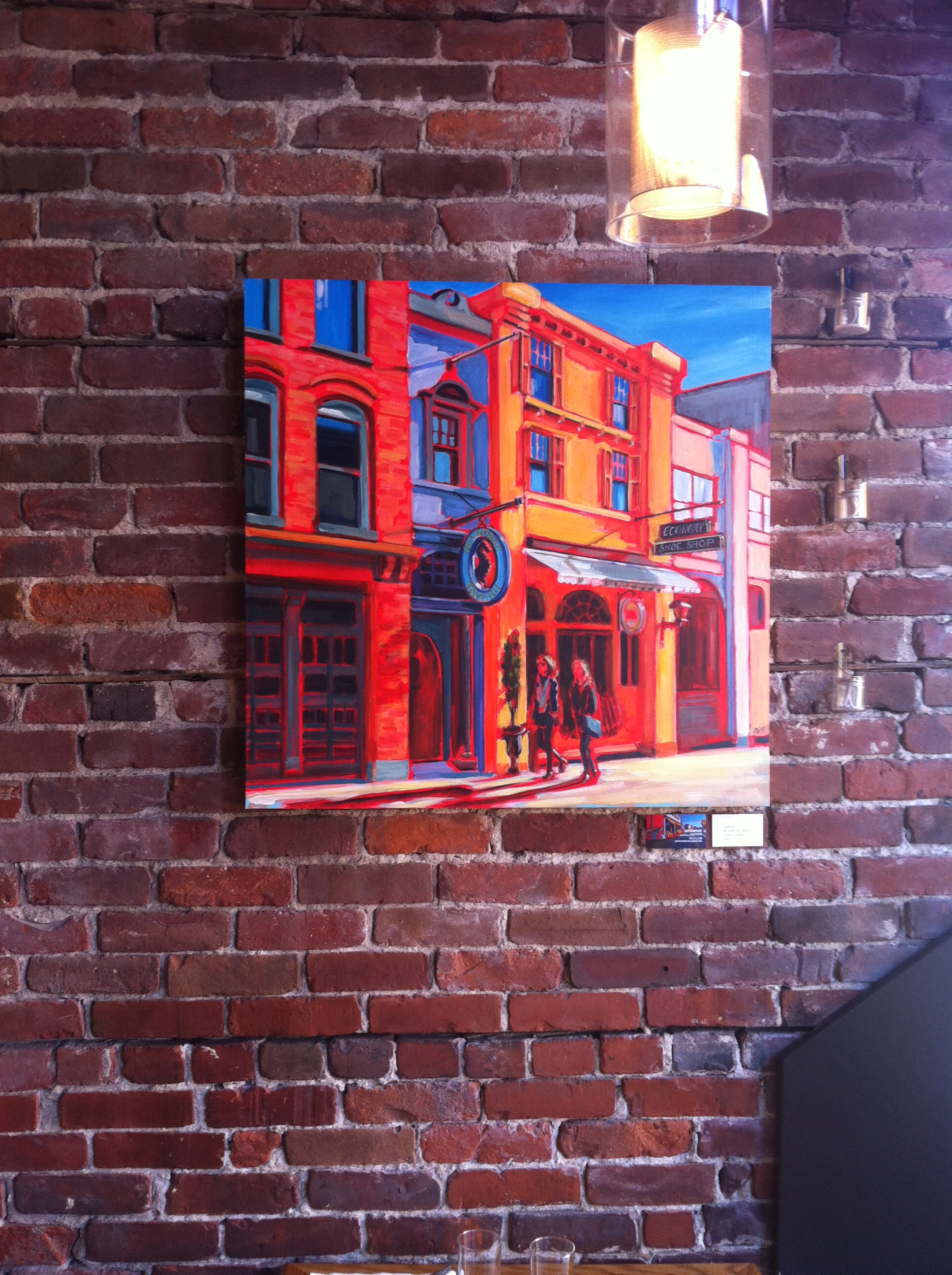 Argyle Street, arcylic on board, 30x30_ - hanging at Morris East restuarant, Halifax, NS