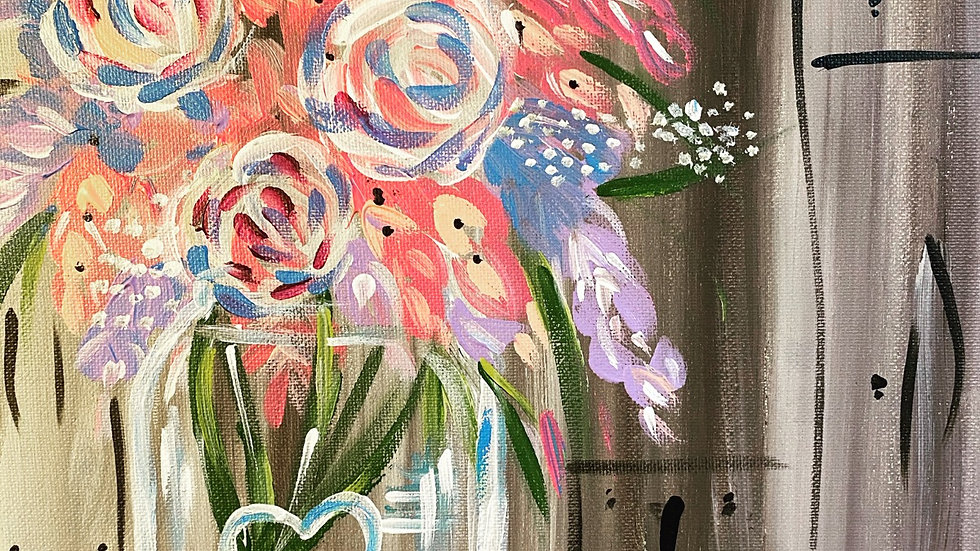 Floral Mason Jar Paint Kit (16x20)