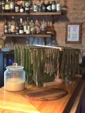 Spinach tagliatelle with the sourdough A