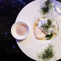 Poached duckgoose egg, Parmesan mousse,
