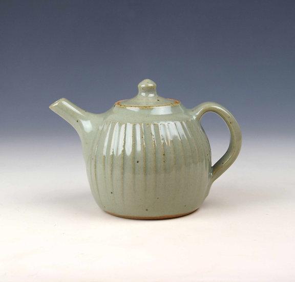 1-pint celadon fluted teapot by John Jelfs