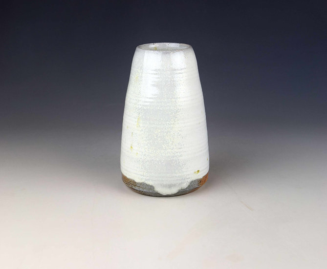White soda-fired tapered vase