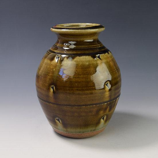 Soda fired olive green vase