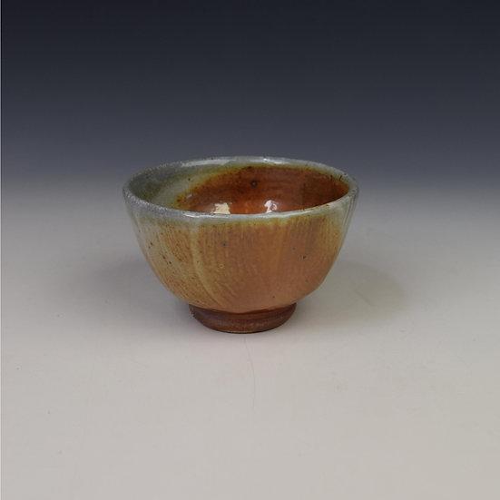 Shino glaze soda fired open tea bowl