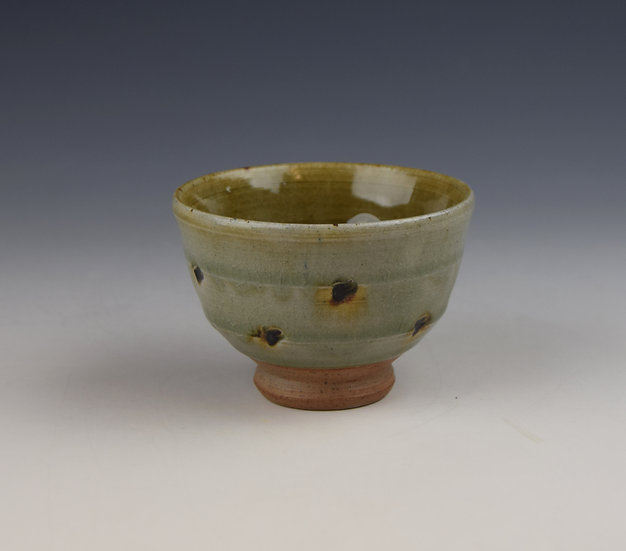 Green ash glazed Yunomi (tea bowl)