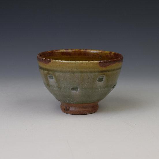Green ash glazed Yunomi (tea bowl) with red slip