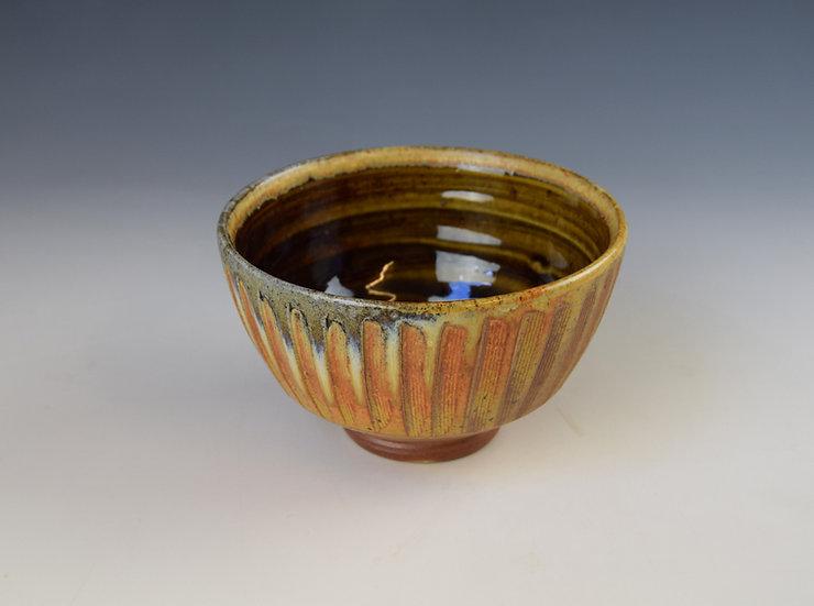 Fluted soda chawan (footed bowl)