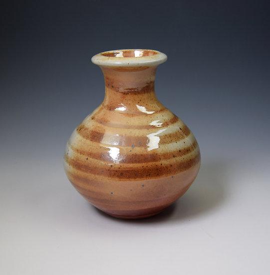 Shino soda-fired round bottle vase