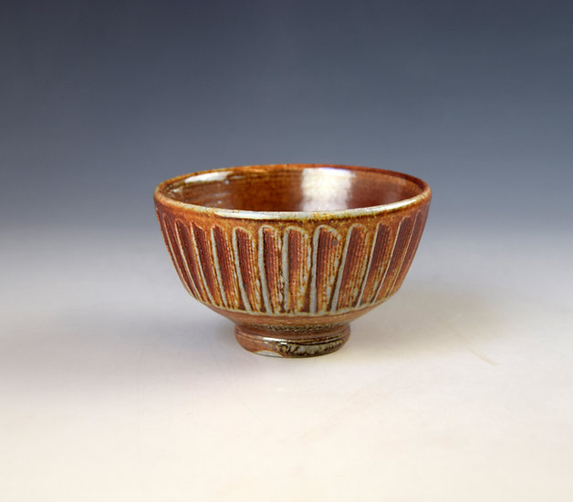 Soda fired fluted tea bowl