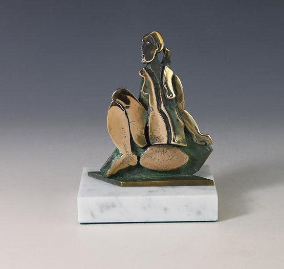 Seated Broken woman in bronze